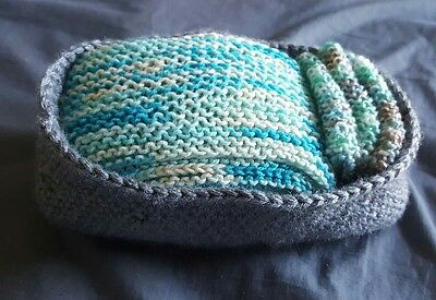 Newborn Baby Boy Gift Set Handmade Basket Blanket Wash Cloths Baby Shower