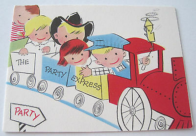 Unused Vtg Birthday Party Invitation Cute Kids on Party Express Train