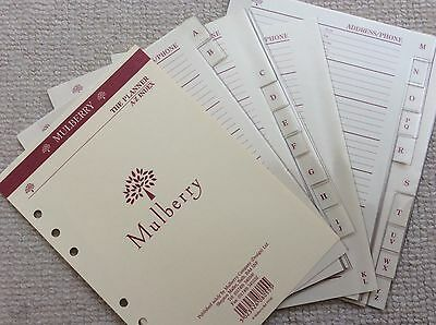 Mulberry PLANNER A-Z ADDRESS / CONTACTS PAGES with Plastic Covers