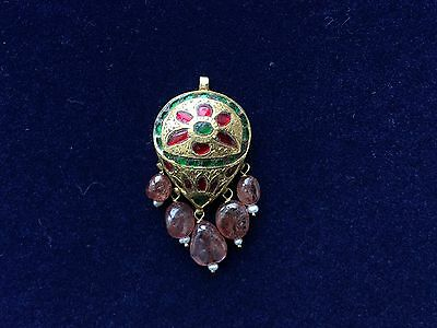 Antique Indian Gold Ruby Pendant. Jaipur 1910.