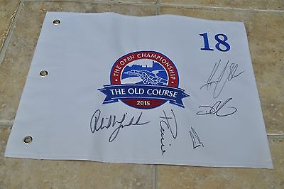 Multi Signed The Open Championship 2015 St Andrews Golf Flag Phil Mickelson +