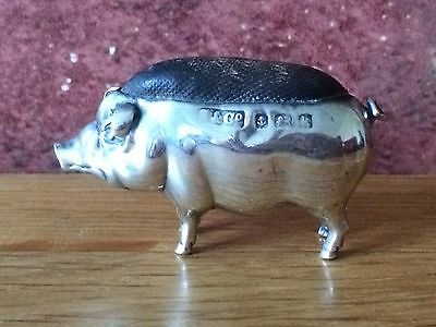 Antique 1909 Edwardian Miniature Silver Pig Novelty Pin Cushion by Sydney & Co