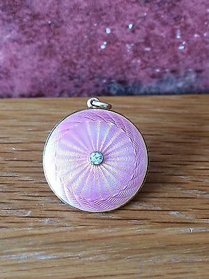 Superb Art Deco 14ct Gold & Diamond Pink Guilloche Enamelled circular Locket