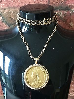Rare 1887 Queen Victoria's Golden Jubilee Two Pound 22ct Gold Coin Pendant