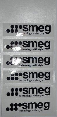 6 x SMEG GLOSSY LABELS 7cm long, clear vinyl so background colour shows through.
