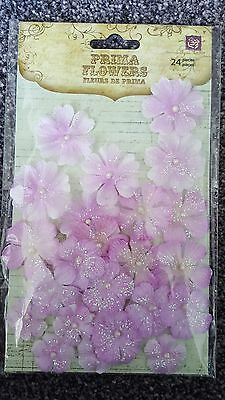 Prima fabric flowers with glitter. Pearl Penache.scrapbooking, cards (lot9)