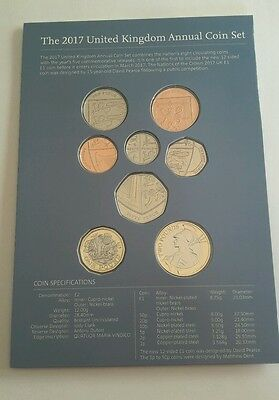 2017 Royal Mint Brilliant Uncirculated Definitive 8 Coin Set ~  new £1 pound {2}