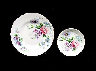 Beautiful Vintage Crown Staffordshire England'S Glory Side Plate & Pin Dish