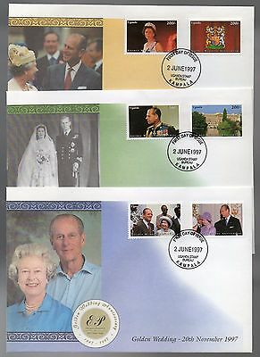 Uganda 1997 Golden Wedding of HM Queen set on 3 First Day Covers SG 1852 - 1857