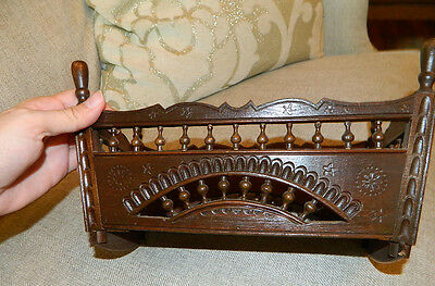 Antique Breton Brittany Doll Cradle for French German Character Bisque Dolls
