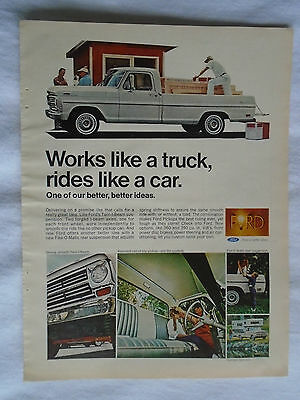 April 1968 Ford Pickup Truck (Rides like a car) Magazine advertising ad print