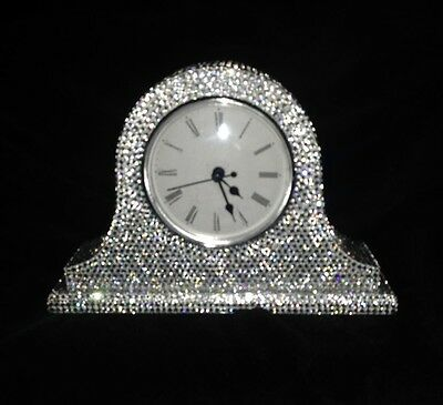 Bling Mr & Mrs Style Silver Diamante Crystal Butterfly Carriage/mantel Clock 💎
