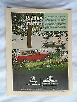 1960's Jeep Jeepster Commander & Starcraft Boat Magazine advertising ad print
