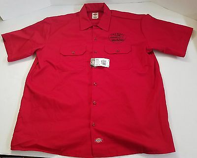 NWT Dickies Red Fireball Cinnamon Whiskey Work Shirt Mens Size XL Button Up