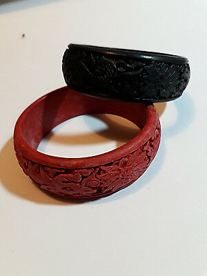 Lovely faux cinnabar bangles - red and black - UK seller!!