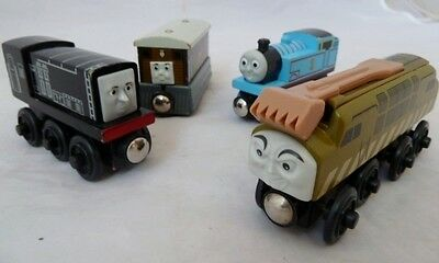 Bundle Wooden Trains Thomas The Tank - Elc/brio/bigjigs - Diesel, Toby Etc
