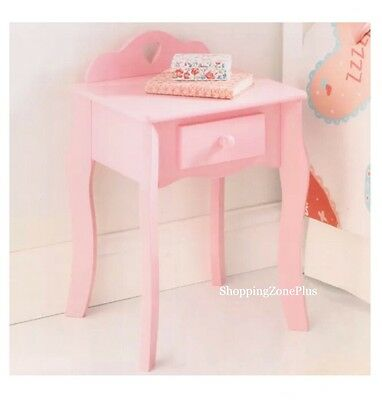 Kid Children Girls French Style Pink Heart Bedside Drawer Cabinet Room Furniture