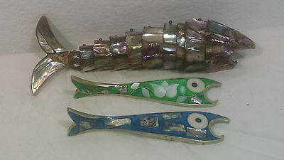Vintage Lot Of 3 Mexican Articulated Solid Fish Bottle Openers Gift Idea Abalone