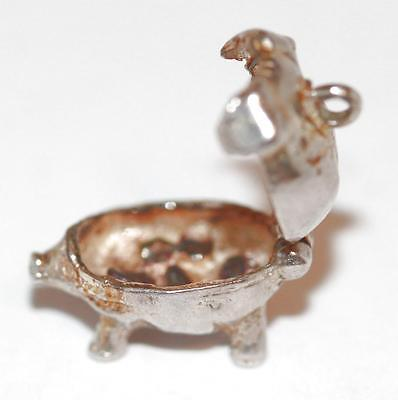 Rare Vintage Sterling Silver Bracelet Charm Piggy Bank Pig Opening To Bacon