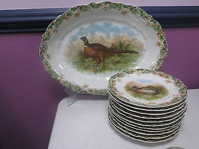 Antique CT GERMANY Carl Tielsch Game Birds Set ~ Lg Platter and 11 Plates 8 1/2""