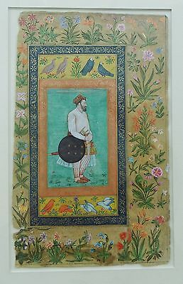 Fine 17th or 18th Century Mughal Illuminated Page Khan-Dauran Floral & Pigeons