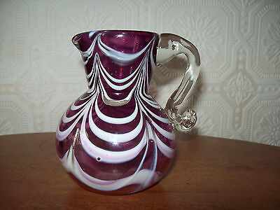nailsea 19th century glass jug with  pink swirl/feathering patterned