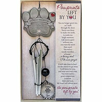 """Pet Memorial Wind Chime - 12"""" Metal Casted Pawprint Wind Chime - A Beautiful For"""