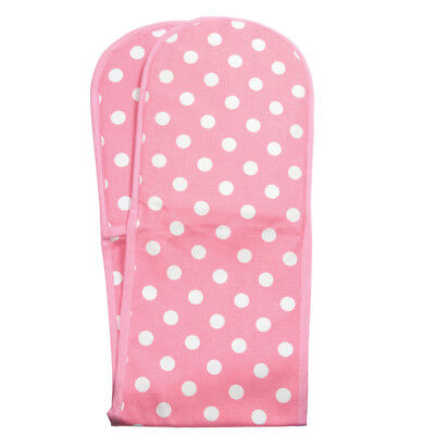 Rushbrookes Pink Flamenco Dot Spot Double Oven Glove Mitt Insulated Cotton New