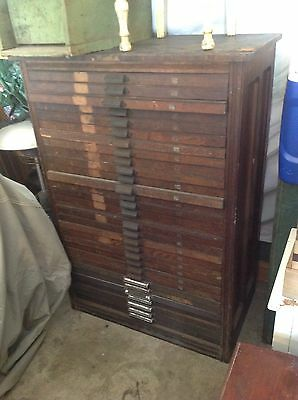 HAMILTON  30 Drawer Wood Type Printers  Leterpress Cabinet antique industrial