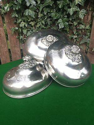 Three Antique Exceptional Large Silver Pared Meat Cover Domes Cloche Rose Handle