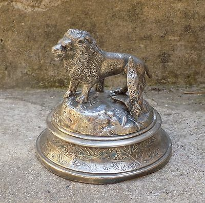 A Old Antique Victorian James Deakin & Sons Silver Plated Diorama of Lion