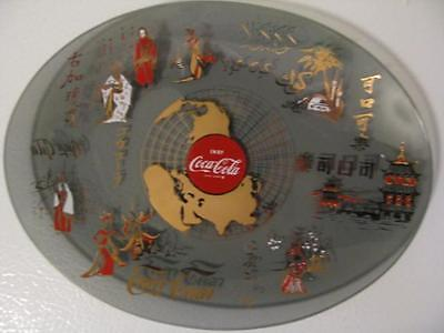 """Coca Cola Glass World Dish Oval Plate Approximately 8.5""""x6.25"""" ~ 1960's"""