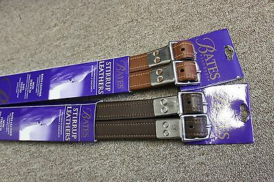 "NEW Bates Lined Stirrup Leathers - Havana - 58"" x 1"""