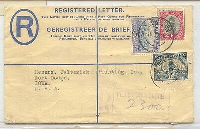 South Africa C7 1939 registered mail to US (entier postal stationary afrique du