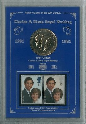 Prince Charles & Princess Lady Diana The Royal Wedding Crown Coin Stamp Set 1981