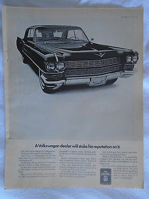 1960's Volkswagen Dealer ad with 1960's Cadillac Magazine advertising ad print