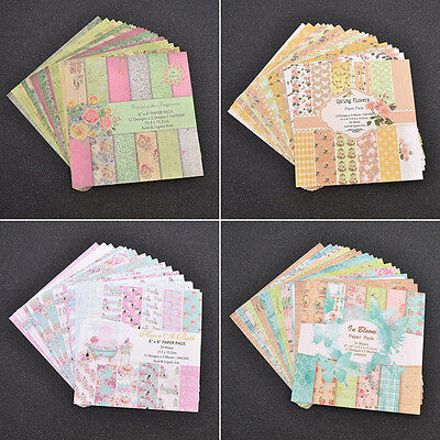 24 Sheets Vintage Scrapbook Art Card Photo Album Decor Craft Making Paper Pad