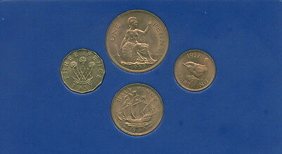 Set of Four BU 1937 Coins Threepence Penny Halfpenny & Farthing in Display Case