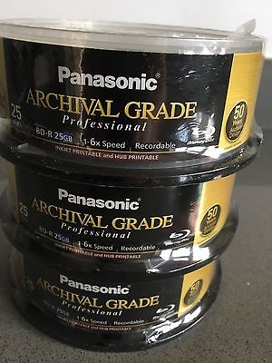 Panasonic 6X Speed 25Gb Professional Archive BD-R Media. 3 X 25 Disc Spindles.
