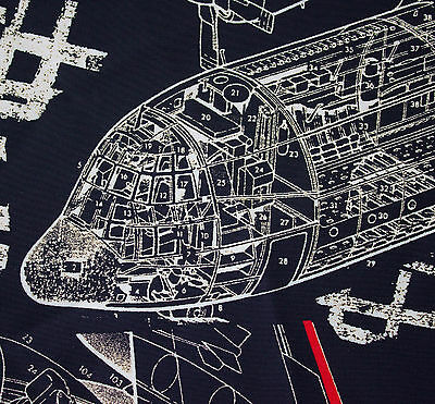 vintage 1980s Jenast Paris airplane diagram print silk fabric piece