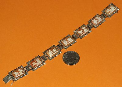 "Antique/vintage ""7 Days Of The Week"" Silver & Marcasite Cameo Bracelet 8""l"