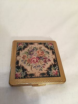 Vintage KCIU Make Up Powder Compact, Floral Tapestry Cover