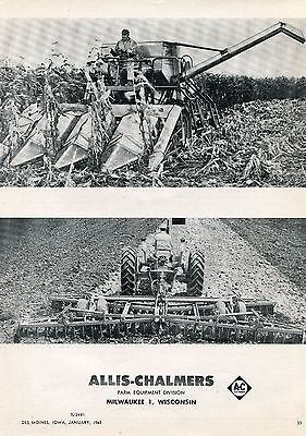 1963 Print Ad of Allis Chalmers AC Gleaner Combine & Farm Tractor