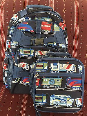 NEW POTTERY BARN Kids Navy Blue Train Print Large Backpack & Lunch Bag SOLD OUT