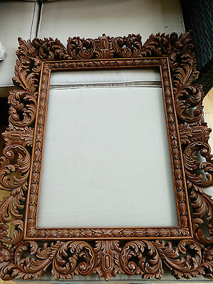 Exceptional Hand carved pierced mahogany wooden frame,Florentine, 20 x 24 inches