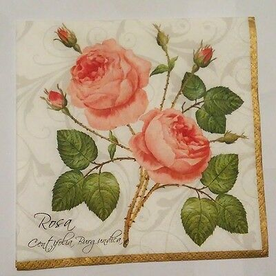 3 x Single Paper Napkins Two Roses Flower Decoupage or Scrapbooking 3-ply 13x13