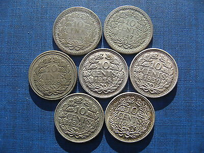 Netherlands 10 Cents 1915 1917 1928 1938 1939 1941 & 1944. 7 Coins