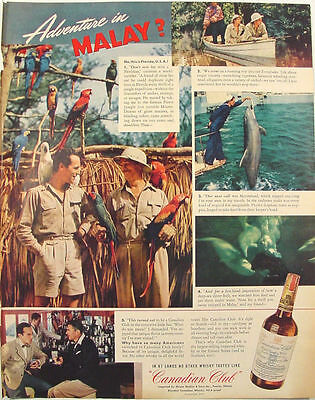 1941 Canadian Club Whisky Parrot Jungle Miami Everglades Marineland Florida Ad