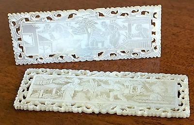 Two Fine Quality Chinese Carved Mother Of Pearl Gaming Counters, 19th Century.