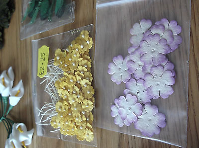 job lot of flowers and stamens for card making & scrapbooking